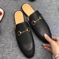Top Qualität Schuhleder Herren Trainer Weiche Rindsleder Lazy Womens Schuhe Metall Schnalle Strand Sandalen Maultiere Princetown Lady Hausschuhe Große Turnschuhe