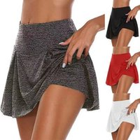 Pantaloncini Gym Women Running High Waist Stampa Maglia Doppio strato Patchwork Fitness Sports Skirt Short Gonna