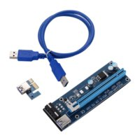 VER 007 PCIe PCI-E PCI Express 1x to 16x Riser Card USB 3.0 Data Cable SATA to 6Pin IDE Molex Power Supply