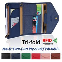 Card Holders Travel Wallet Passport Holder RFID Organiser Pouch Storage Bag For Cards Documents Money IDs Tri-fold Multi-function PU Leather