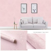 Wall Stickers Linen Pattern Thick Waterproof PVC Self-adhesive Wallpaper Instant Rose pink Sticker Bedroom Living Room Background size 10m*45cm