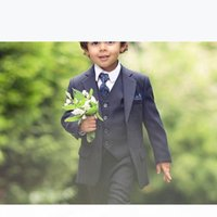 Dark Navy Blue Ring Bearer Suits Boys Wedding Suits 2020 Prom Suits Kids Formal Wear Tuxedos 3 Pieces Set (Jacket+Vest+Pants)