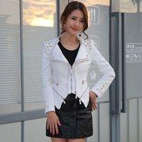 Women's Leather & Faux 2021 Plus Size Motorcycle Jacket Rivet Zipper Denim Female Slim Slimming Y801