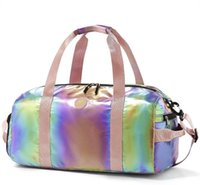 Duffel Bags Gym Bag Overnight Medium Weekender Travel Luggage Water-proof Dry Wet Shoe Compartment For Girls Women (Rainbow)