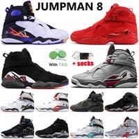 Nike Air Jordan Retro 8 JUMPMAN 8 8s Erkek Kadın Basketbol Ayakkabıları South Beach Off White Sevgililer Geri Sayım Paketi Eğitmenler Sneakers Boyut 13