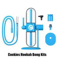 Cookies Hookah Gravity Bong Kit E-cigarette Water Pipe Oil Glass Pipes Smoking Shisha Smoke Dabber Vapor Accessories For Tobacco Bowl Recycler Bongs Dab Rig Blue YJ33