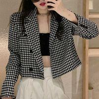 Woman Causal Plaid Short Blazer Houndstooth Jacket H0918