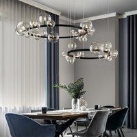 Nordic Black Led Kronleuchter Lampen 7/10 Glas Blase Lampenschirm Esszimmer Tuch Store Hängen Beleuchtung G9 Birne