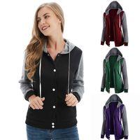 Women's Hoodies & Sweatshirts Female Sweatshirt Autumn Winter Casual Long Sleeve Button Patchwork Hooded 2021 Warm Women Tracksuit Harajuku