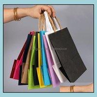 Bolsas Oficina Escuela Negocio Industrial500PCS / Lote 3 Tamaño Bolso de regalo de papel Kraft de moda con mango / bolsas de la tienda / bolsa de embalaje de la Navidad / Excel