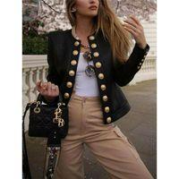New Arrival British Style Women's Ladies Buttons Long Sleeve Jacket Short Slim Elegant Coat Biker Casual Tops DFF3037