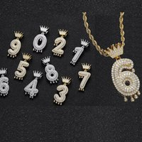 18K Gold Arabic Numerals Zircon crown hip hop necklace 60cm chain jewelry set iced out diamond number pendant necklaces for women men will and sandy dropship
