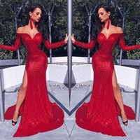 Hot Afraic Girl Red Sheath Prom Evening Dress Sequins Mermaid Long Sleeve Formal Party Gown Off Shoulder Pageant Gown Custom Made