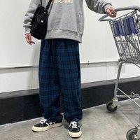 Hombre BF estilo Hip Hop Pantalones casuales sueltos joggers de gran tamaño Sweetpants Impresión en celosía Pantalones de colores azules