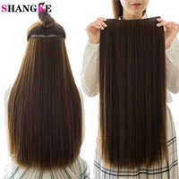 """Synthetic Wigs SHANGKE 5 Clips piece Natural Silky Straight Hair Extention 24""""inches Clip In Women Pieces Long Fake"""