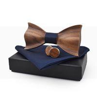 Neck Ties Linbaiway Man Wooden Bowtie Handkerchief Cufflinks Set For Mens Corbatas Gravata Pocket Towel Cravat Wood Men Gift