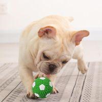 Pet Dog Cachorrinho Squeaky Mastigado Brinquedo Som Puro Natural Natural Borracha De Borracha Ao Ar Livre Pequeno Cães Grandes Cães Engraçados Futebol Rugbys Ball Ball Ball Brinquedos