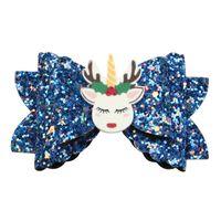 유니콘 활 헤어핀 그레텔 엘크 어린이 파티 Bowknot 귀여운 헤어 액세서리 스팽글 어린이 다채로운 2 99WJ M2