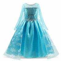 Девочки принцессы платье косплей костюм дети детей для вечеринки без рукавов синий