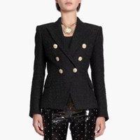 Women's Suits & Blazers HIGH STREET Est Runway 2021 Designer Blazer Lion Metal Buttons Cotton Blend Tweed Coat