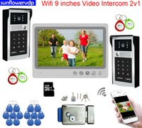"""Video Door Phones Wifi 9"""" Intercom Rfid Code Unlock Intercoms Bells For Apartments Rooms With Electronic Lock System Units (2 outdoor cameras add1 monitor)"""