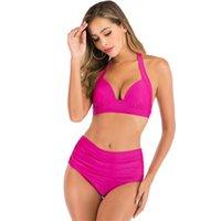In stock Women's Swimwear halter high waist solid multi color print split Two-pieces bikini neck band Sexy Swim suit 15 colors high