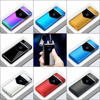 Lighters Electric Metal Windproof Dual Arc Rechargeable USB Lighter Plasma Disposable Smoking Cigarette Lighter For Man Gadgets