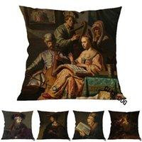 Cuscino / cuscino decorativo famoso Rembrandt Painting Art Works Busto di Saskia Rabbi, la musica Allegory, accusando la copertura cuscino Peter Christ