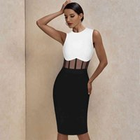 Ocstrade Bandage Dress 2021 Black White Bandage Dress Bodycon Summer Mesh Insert Sexy Party Dress Club Outfits for Women