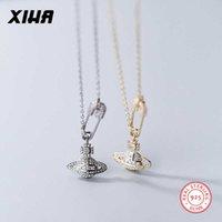 Xiha Genuine 925 Sterling Silver Star Pin Pingente Colar Mulheres Cúbicas Zircônia Gargantilha Colares S925 Jóias 210621