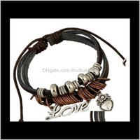 Charm Bracelets Jewelry Drop Delivery 2021 Love Heart Leather Hand Knitted Dark Brown Rosary Selling Korean Bracelet Awc1Z