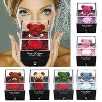 Fashion Party Teddy Bear Rose rifinito box di gioielli di San Valentino regali di compleanno Decorazione squisita all'ingrosso