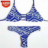 Geometrische Print Bikini Göttin Weibliche Badeanzug Brasilianische Mini String Bandage Schwimmabnutzungsstrand Frauen Badeanzug DK48 # JB87