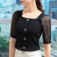 Women's T-Shirt Modal Short Sleeve 2021 Summer Splicing Mesh Tight Square Neck Top