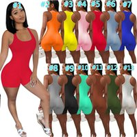 Designer Summer Women Sexy Jumpsuits Solid Color Shorts Bodysuits Workout Skinny Rompers Yoga Pants Pajama Onesies Casual Playsuit Overalls Plus Size