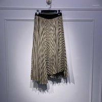 2020 automne hiver doré scintille jupes plissées plissées femmes sauvages confortable taille élastique elastic kein long jupes1