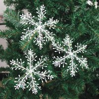 New Snowflake Christmas Decoration Snowflake Christmas Tree Pendant Plastic Silk Snow Flakes Xmas Festive Party Supplies BWE10532