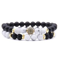2pc sets Couple Bracelets & Bangles Natural Stone Pave CZ 10mm Ball Charms For Women Jewelry Men Pulseiras Beaded, Strands