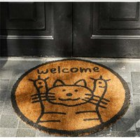 India Imported High Quality Coir Into the Door Anti-slip s Outdoor Rug Hallway Lovely Cats Convenience Welcome Floor Mat