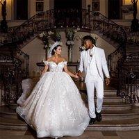 Plus Size Dubai Wedding Dress Lace Floral Appliques Open Back Off the Shoulder Bridal Gowns Exquisite vestido de novia
