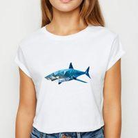 Animals Shark Oversize Spring Women T Shirts Summer White Creative Printing Design Ropa Mujer O Collar