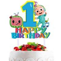 Cocomellon Baby Family Cake Plug аксессуары для девочек милый мультфильм JJ мальчики с днем рождения до 1/2-летнего украшения партии Большой флаг для детей G404JVP