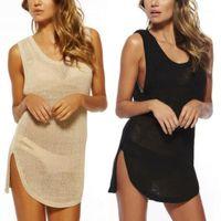 Sommer Frauen Badebekleidung Badeanzug einteilig Massives Kleid häkeln Bikini Cover up Strand ärmelloses Mesh atmungsaktives Cover dress1