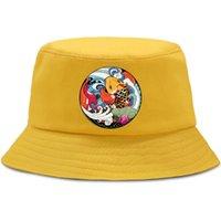 만화 잉어 재미 있은 하라주쿠 양동이 모자 남자 여자 야외 해변 태양 검은 패션 어부 유니섹스 캐주얼 캡 넓은 모자
