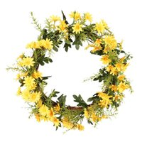 Artificial Little Daisies Wreath Door Decoration Flower Arrangement Wreaths Wedding Hanging Ring Home Decor Decorative Flowers &