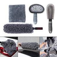 Car Sponge 2 3 4 Pcs Detailing Tools Rim Cleaning Kit Tire Brush Set Dust Remover Microfiber Towel Detail Drying Polishing