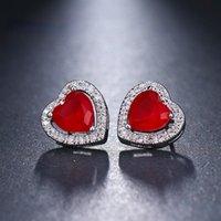 Stud Trendy Sweet Acrylic Heart Earrings For Birthday Party Anniversary Christmas Gifts Peach Zircon Jewelry Women