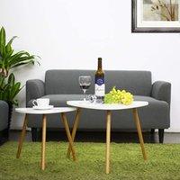 Nesting Coffee Table Set med 2, vita glansändbord för vardagsrum, hemmöbler