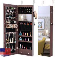 Smycken lagringsspegelskåpslåda med LED-lampor kan hängas på dörren eller vägg H0041 US Stock Snabb leverans