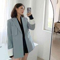 Woemn jacket trendy autumn new fashion casual poket patchwork loose jacket female